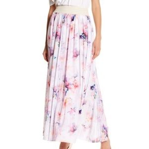 New T TAHARI Farah Gathered Maxi FloralPrint Skirt